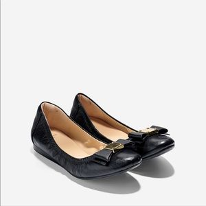 💯 Auth Cole Haan Tali Bow Ballet Flats, Black 7.5